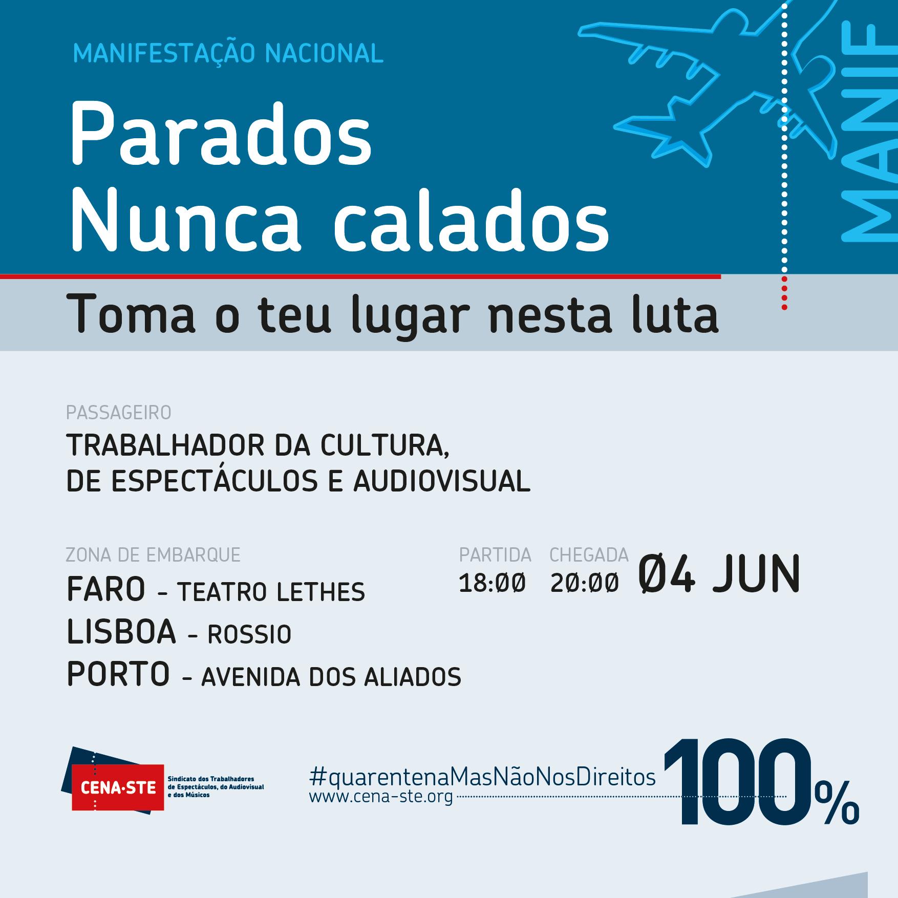 Trabalhadores da Cultura, Artes, Espectáculo e Audiovisual convocam manifestação para 4 de junho