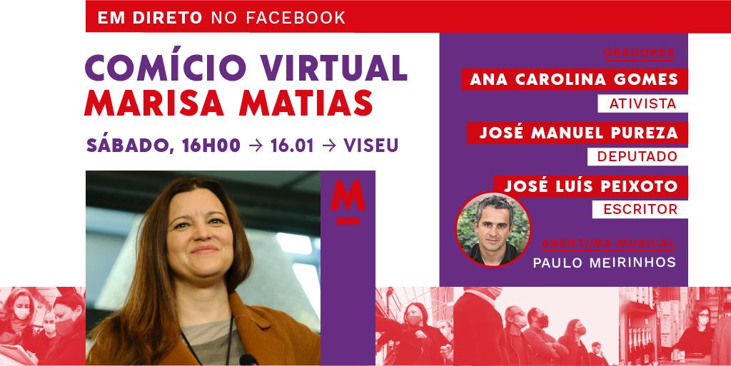 Comício virtual com Marisa Matias em Viseu no próximo sábado