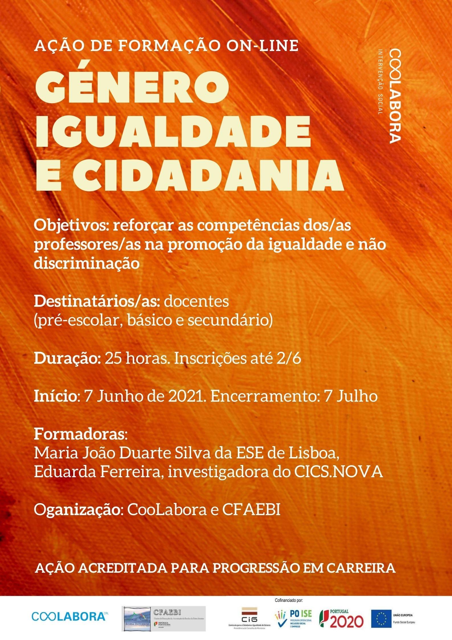 CooLabora e CFAEBI promovem formação para docentes sobre Género, Igualdade e Cidadania