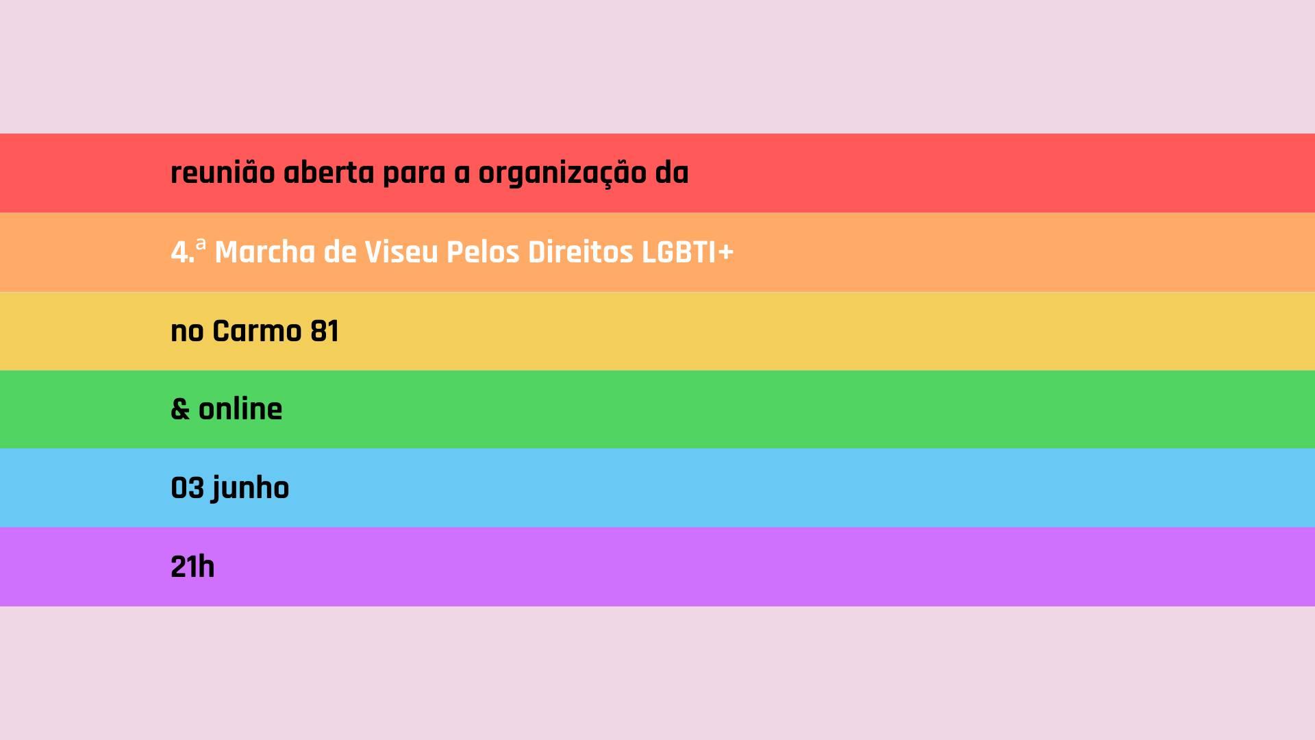 1.ª reunião aberta para a 4.ª Marcha de Viseu Pelos Direitos LGBTI+