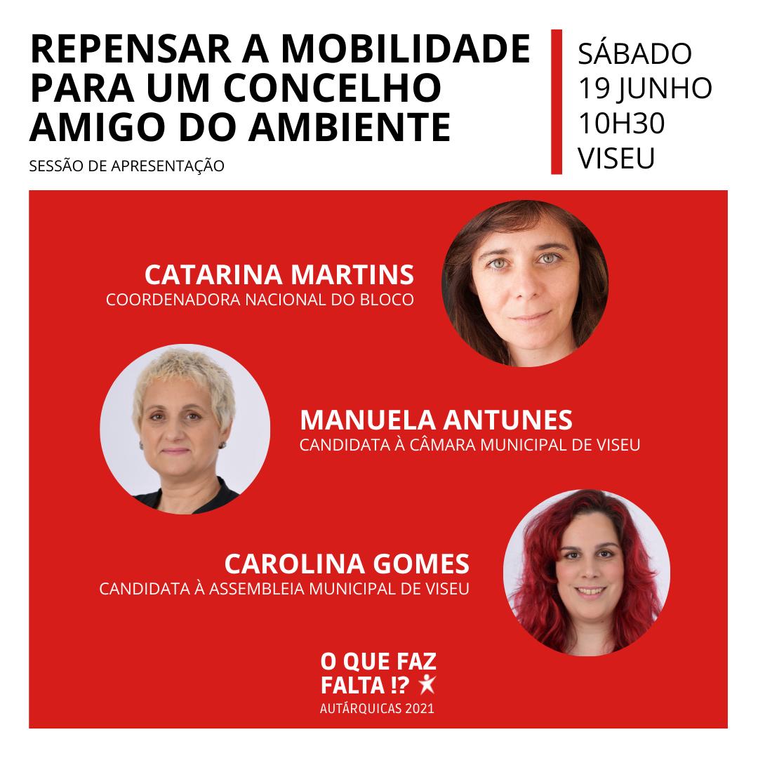 Viseu: Catarina Martins estará em sessão da candidatura autárquica do Bloco de Esquerda sobre ambiente e mobilidade